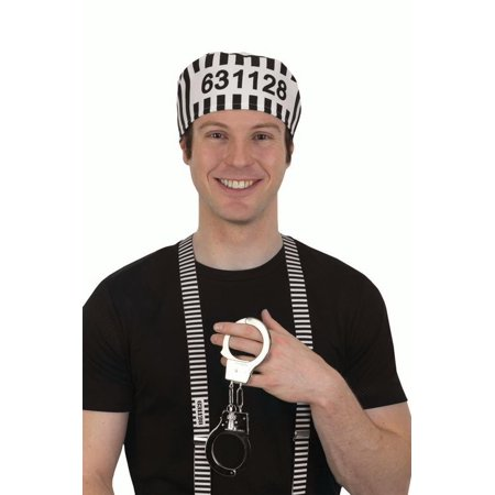 Jailbird Prisoner Hat Handcuffs Suspenders Halloween Adult Costume Accessory Set - Handcuffed Halloween