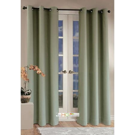 - 2x Panels/Pair Microfiber Blackout Metal Grommet Curtain Washable Sage Green 54 x 84