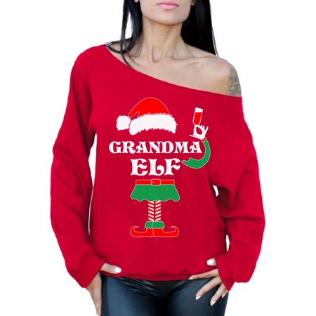 Awkward Styles Grandma Elf Christmas Sweatshirt Elf Suit Grandma Off the Shoulder Sweatshirt Sweater Elf Xmas Slouchy Oversized Sweatshirt Off the Shoulder Top Elf Christmas Sweater Gift for Granny