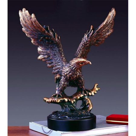 Marian Imports F11105 Eagle Bronze Plated Resin Sculpture - 14 x 8 x 16