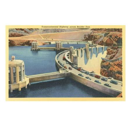 - Transcontinental Highway over Boulder Dam, Nevada Print Wall Art