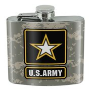U.S. Army Logo on Camo Stainless Steel 5oz Hip Drink Kidney Flask