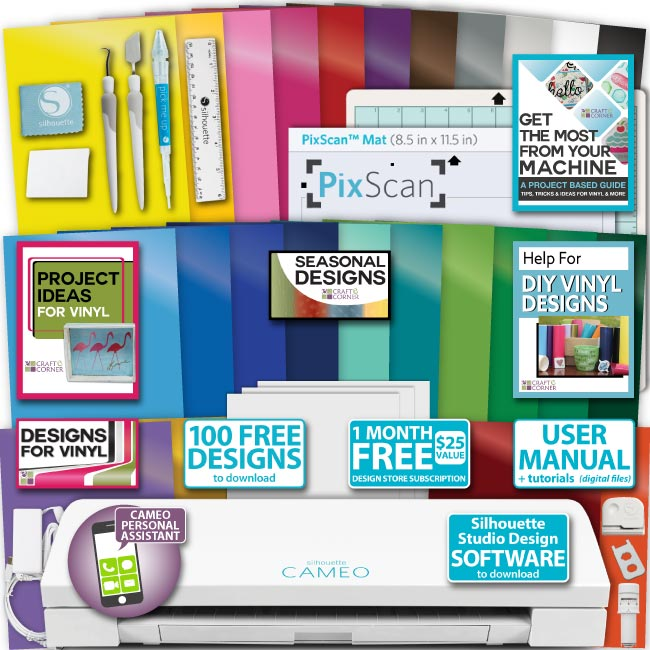 silhouette cameo 3 machine 25 sheets oracal vinyl starter bundle paper tools