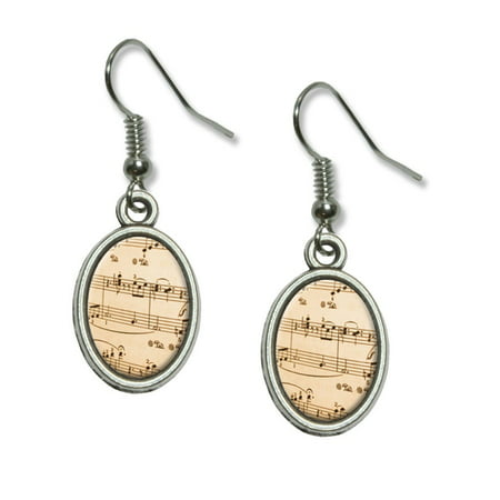 Music Musical Sheet Notes Vintage - Treble Clef Dangling Drop Oval Earrings