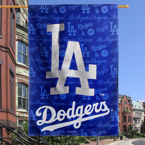 "Los Angeles Dodgers 12.5"" x 18"" Glitter Suede House Flag - No Size"