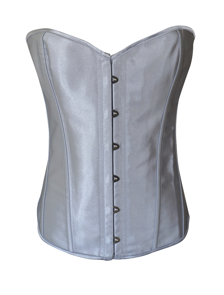 88e69d03c0 Chicastic - Chicastic Silver Grey Satin Sexy Strong Boned Corset Lace Up  Bustier Top - Large - Walmart.com