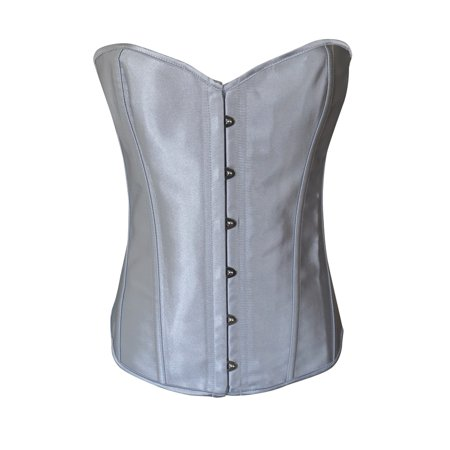 Black Lace Up Corset - Chicastic Silver Grey Satin Sexy Strong Boned Corset Lace Up Bustier Top - XX-Large