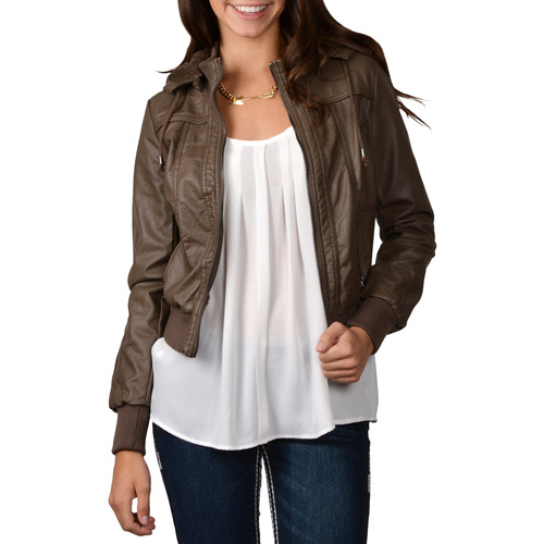 Brinley Co. Juniors Faux Leather Hooded Jacket