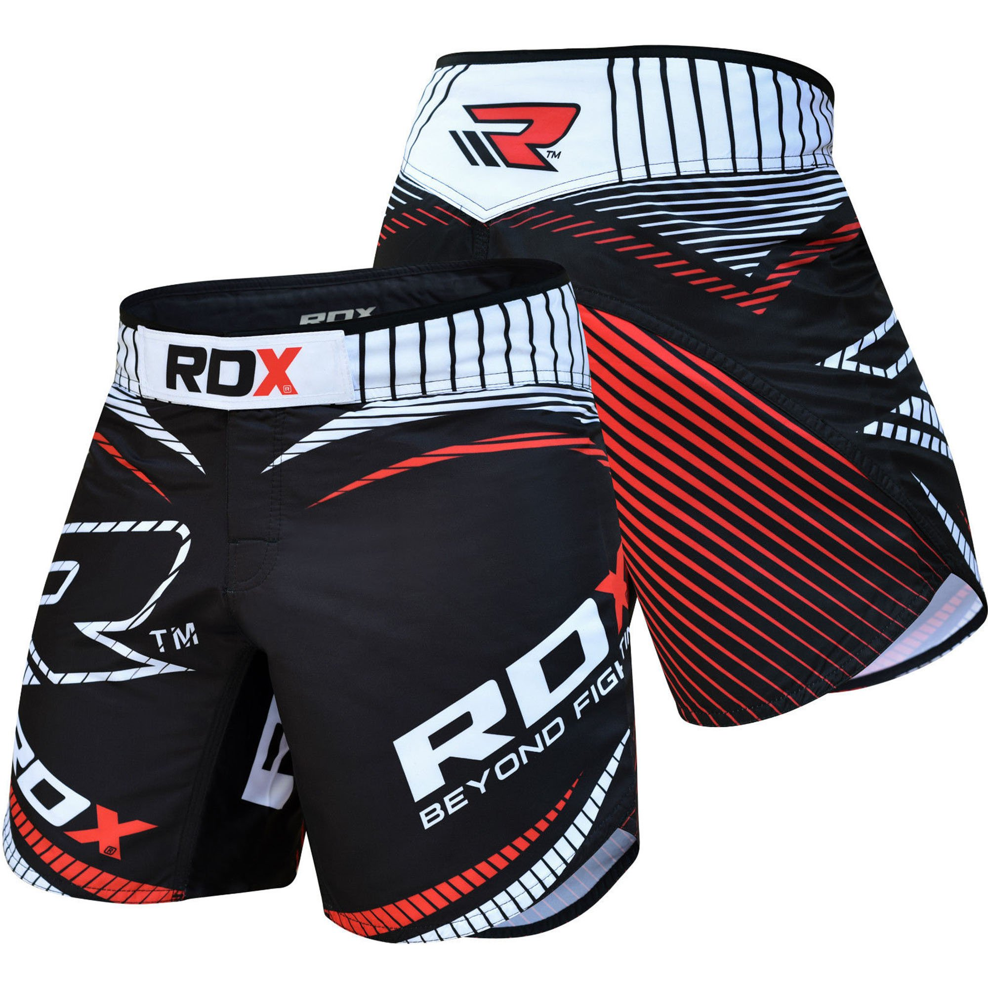 RDX MMA FIGHT SHORTS BLACK RED-S