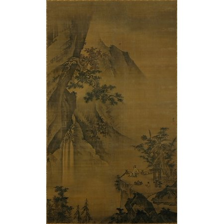 Scholar Looking At A Waterfall Poster Print By Zhong Li  Chinese Active Ca 1480   1500   18 X 24