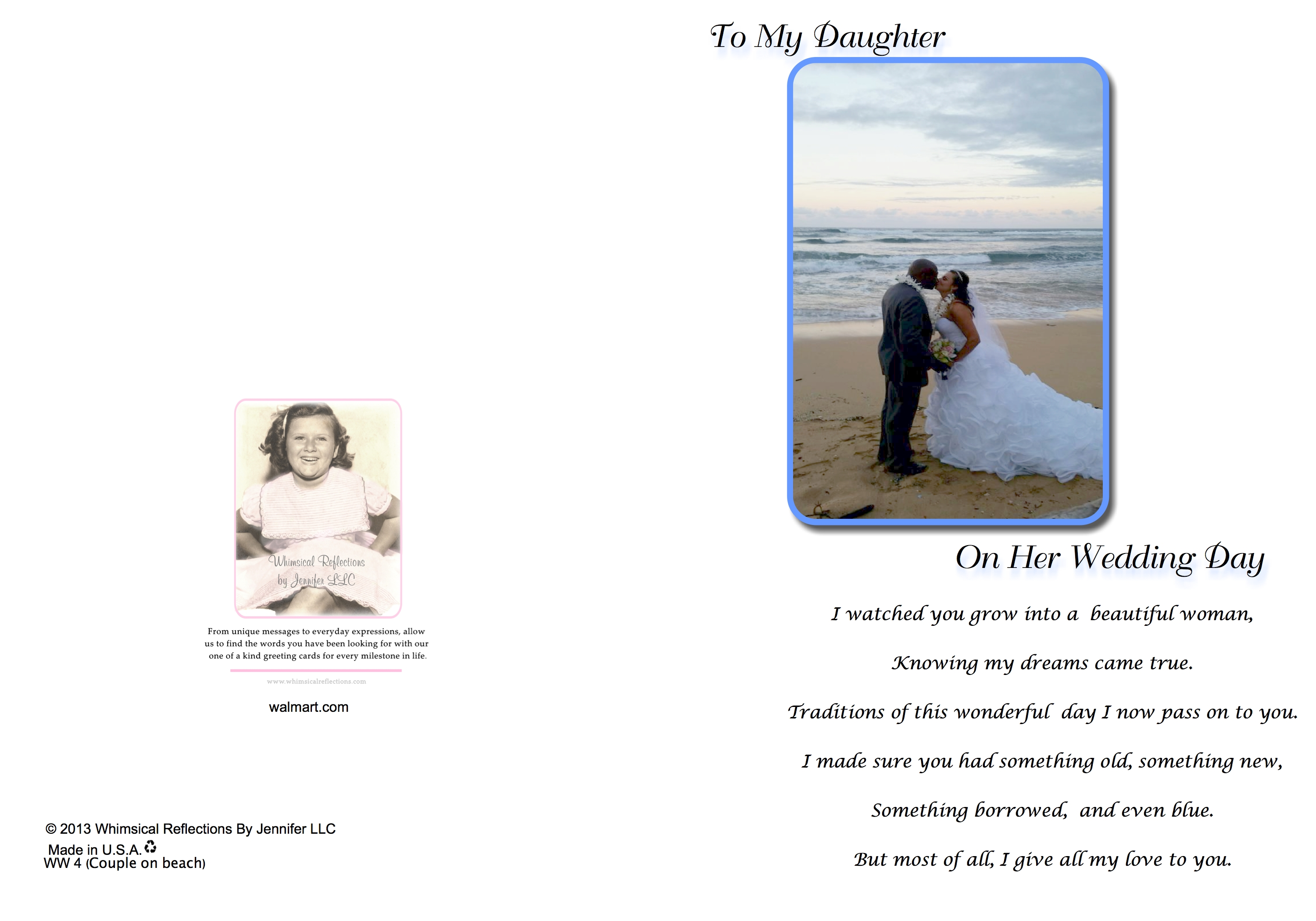 To my daughter on her wedding day couple on beach greeting card to my daughter on her wedding day couple on beach greeting card single 5x7 card with white envelope whimsical reflections by jennifer walmart m4hsunfo