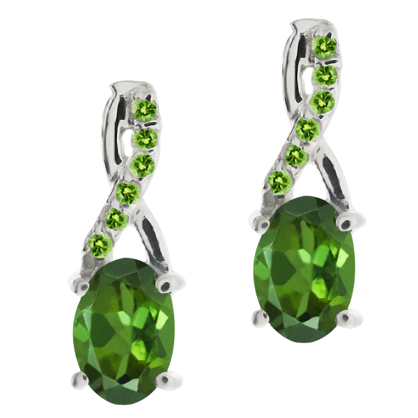 1.08 Ct Oval Green Tourmaline and and Simulated Peridot 14k White Gold Earrings by