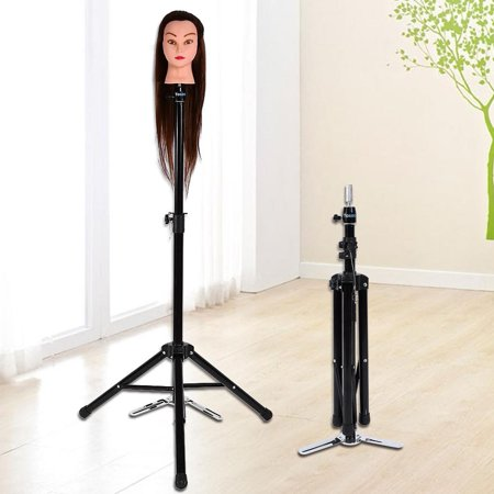 VGEBY Mannequin Head Holder, 34inch to 52inch Portable Aluminum Alloy Hair Dressing Tripod Stand Adjustable Training Mannequin Tripod Clamp Hair Wig Head Holder Stand ()