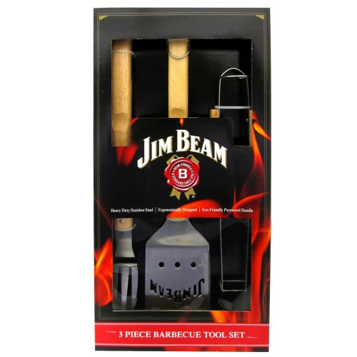 Jim Beam Jb0157 3pc Bbq Set With Spatula, Fork & Tongs