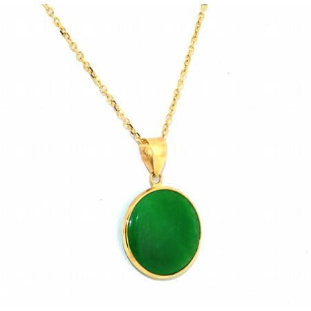Jade Yellow Necklace - 14K Yellow Gold Green Jade Circle Pendant