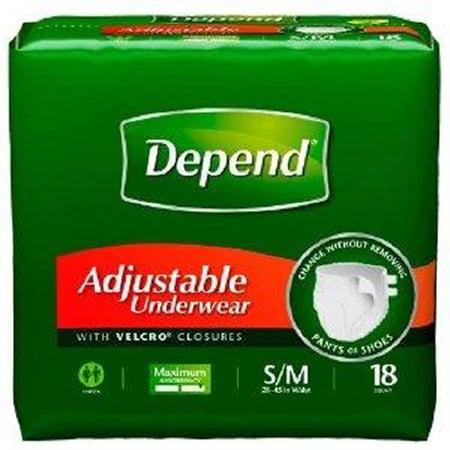 Depend Adjustable Max Absorbency Underwear  Small/Medium, 3 Packs of 18