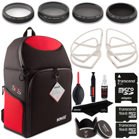 Drone Backpack with Top Value Drone Accessory Kit for DJI Phantom 3