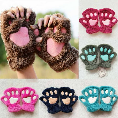 NEW Womens Cute Cat Claw Paw Plush Mittens Short Gloves Half Finger Winter Warm Gift - Cat Paw Gloves