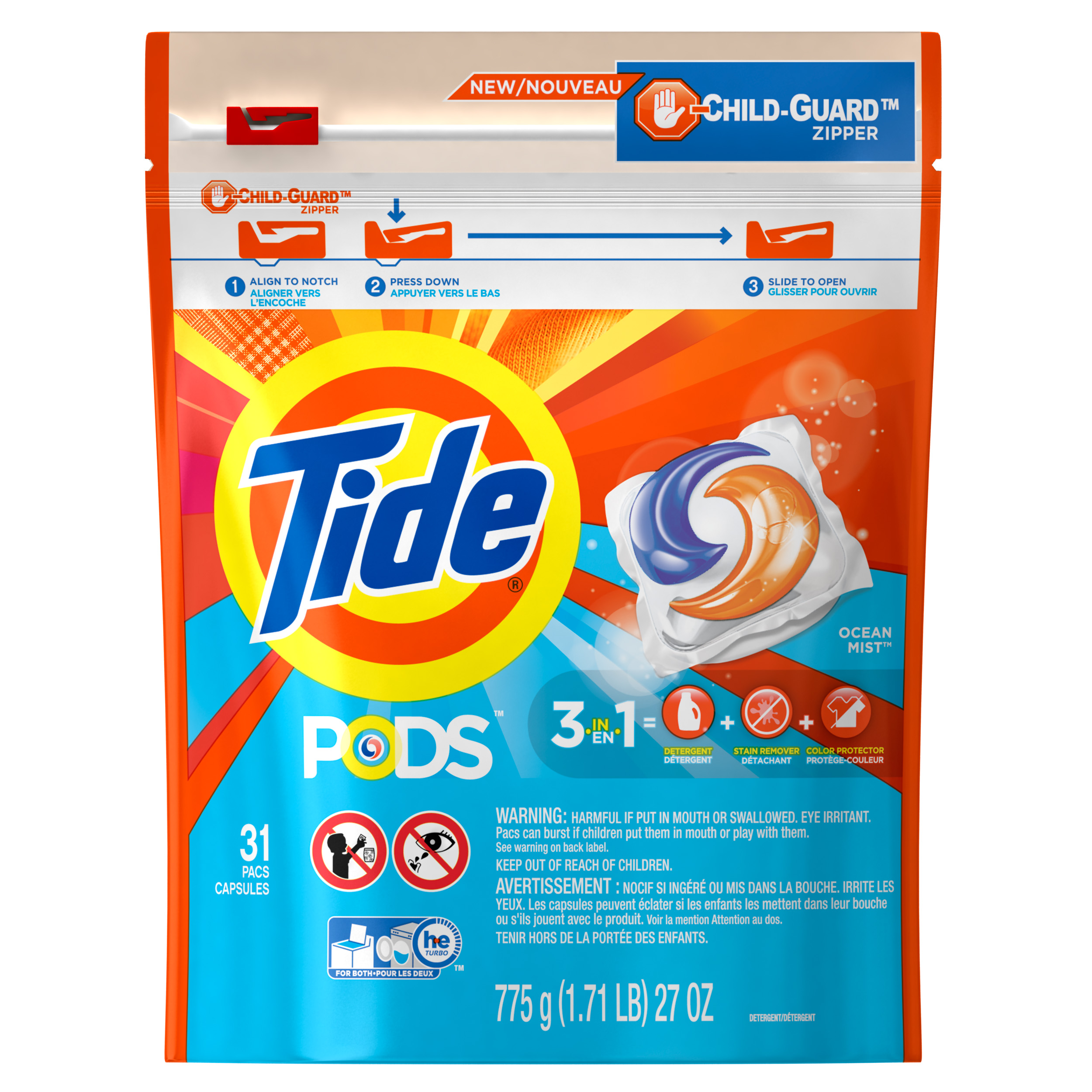 Tide PODS Ocean Mist Scent HE Turbo Laundry Detergent Pacs, 31 count