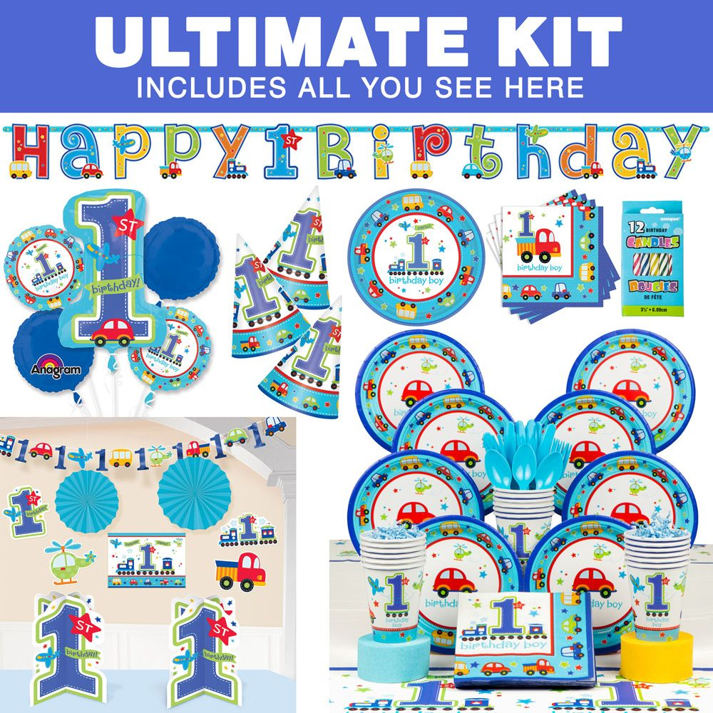 All Aboard 1st Birthday Ultimate Kit (Serves 36) - Party Supplies