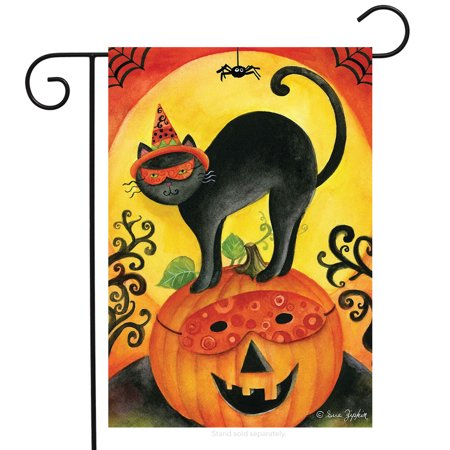 Black Cat Halloween Garden Flag Jack O'lantern Primitive Spider 12.5