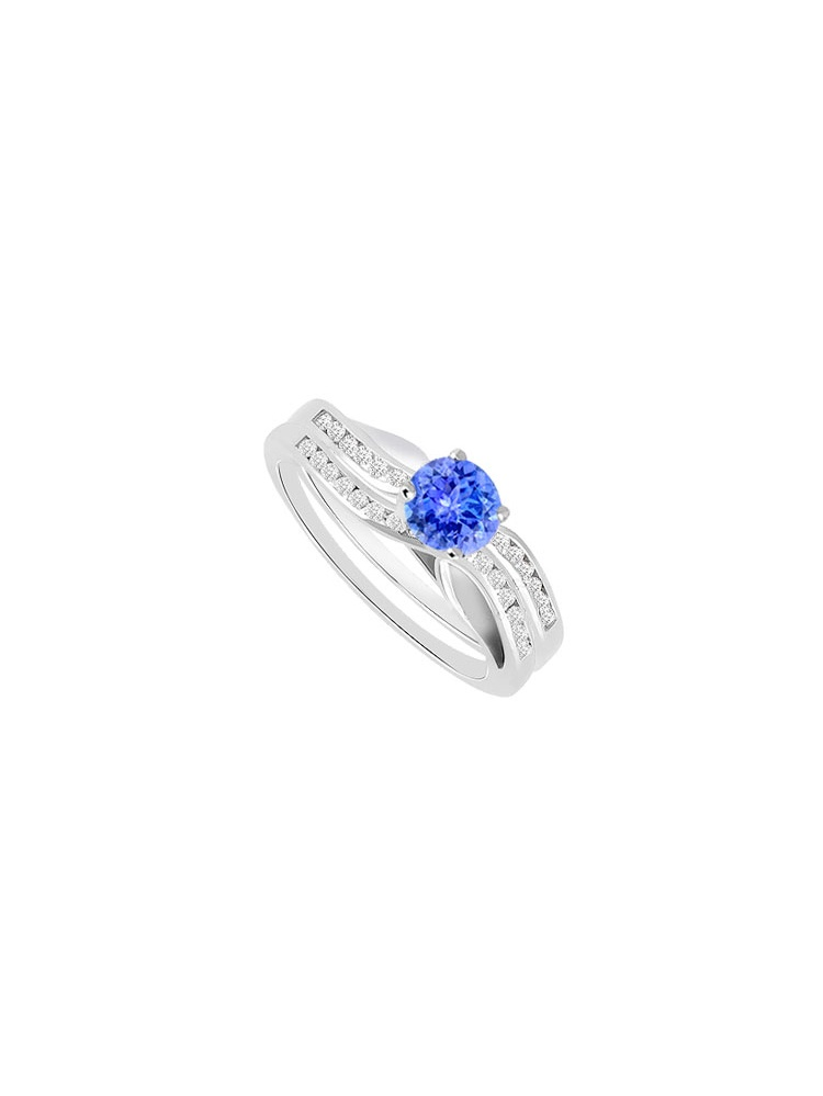 Created Tanzanite Cubic Zirconia Engagement Ring with Wedding Band Sets 14K White Gold 1.00 CT by Love Bright