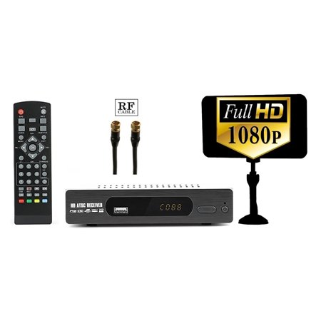 320px Lcd - eXuby Digital Converter Box + Flat Antenna for Recording & Viewing Full HD Digital Channels (Instant & Scheduled Recording, 1080P HDTV, HDMI Output, 7 Day Program Guide & LCD Screen) RF Cable