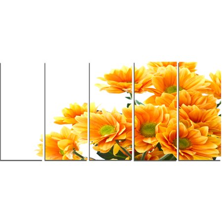 Design Art 'Orange Flowers Chrysanthemum' 5 Piece Photographic Print on Wrapped Canvas Set