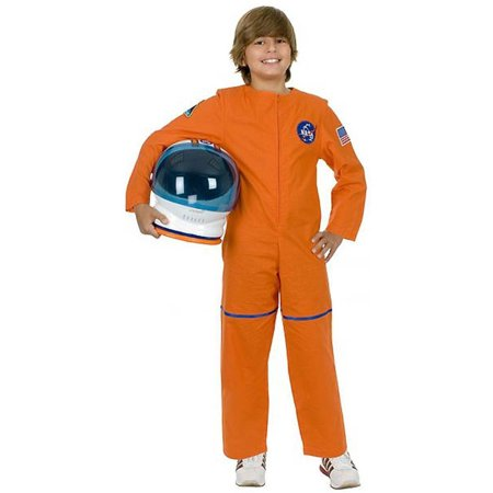 Kid's Orange Astronaut NASA Boys Costume And Helmet Bundle