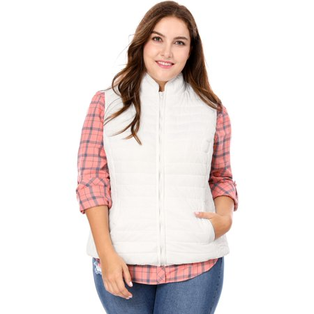 Women's Plus Size Stand Collar Zip Quilted Padded Vest Gilet White 3X