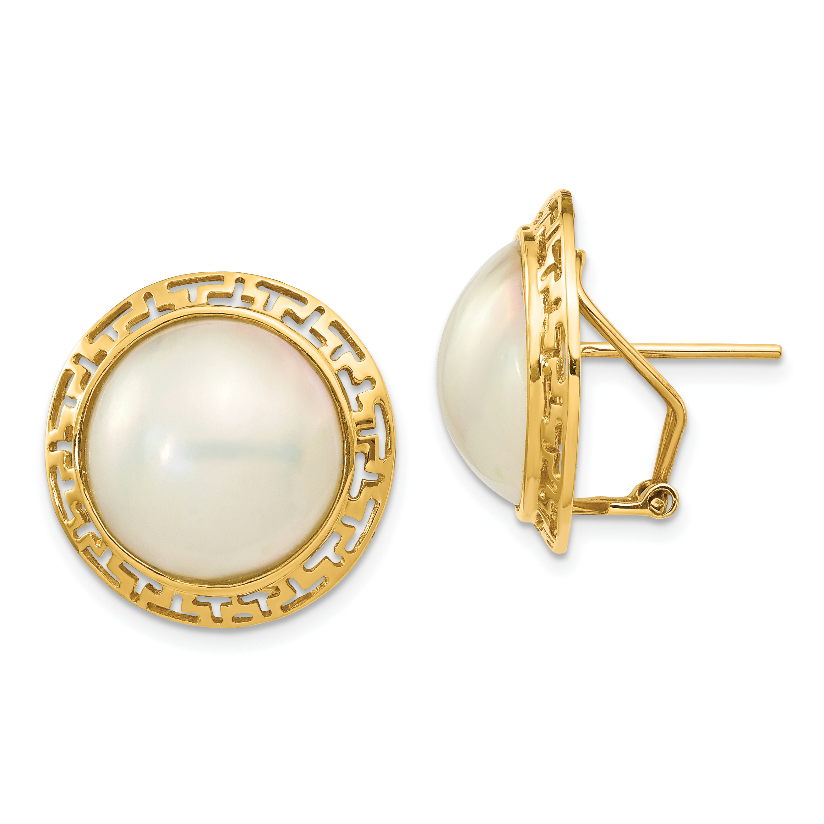 14k 10-11mm White Freshwater Cultured Mabe Pearl Post Earrings