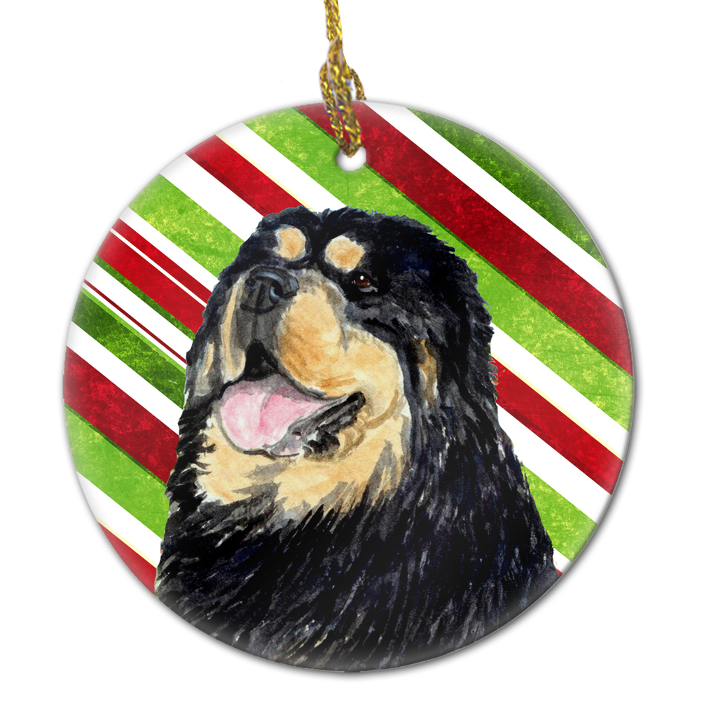 Multicolor Carolines Treasures LH9229-CO1 Bulldog English Candy Cane Holiday Christmas Ceramic Ornament LH9229 3 in