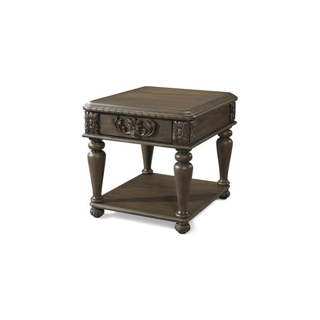 Furniture 12013370889 28 x 24 x 24 in. Versailles-Normandie End Table, Brown by Klaussner