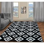 A2Z Trendy 7984 Geometric Modern Transitional Small Black Soft Area Rug Tapis Carpet