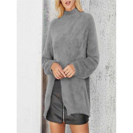 Women High collar Solid Plus Size Plush Winter Warm Blouse Easy Top Tunic Shirt