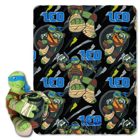 Nickelodeons Teenage Mutant Ninja Turtles, Leo Strikes Hugger Character Shaped Pillow and 40x 50 Fleece Throw - Teenage Mutant Ninja Turtles Pillow Case
