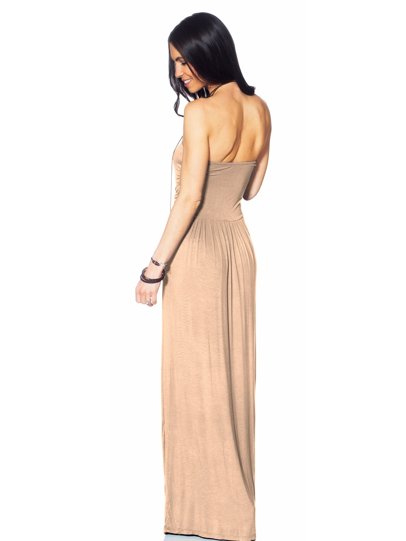392630448a Hot From Hollywood - Womens Strapless Tube Top Ruched Fit and Flare Casual  Maxi Dress with Pockets - Walmart.com