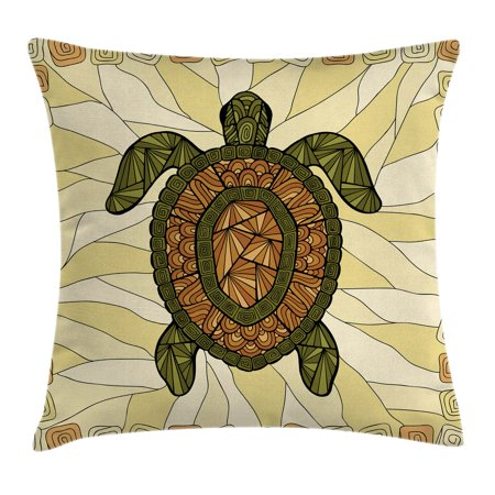 Turtle Throw Pillow Cushion Cover, Stylized Turtle Zentangle on Yellow Background Spiral Forms Bohemian Artwork, Decorative Square Accent Pillow Case, 16 X 16 Inches, Yellow Green Brown, by Ambesonne