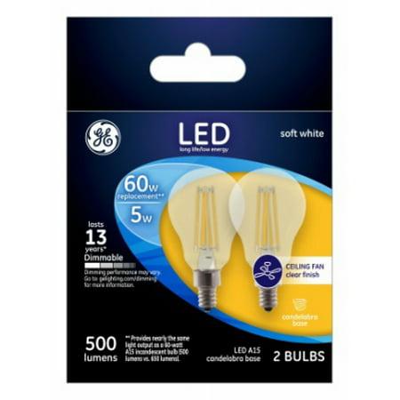 Ceiling Fan LED Light Bulb, Clear, 5.5-Watt, 2-Pk.