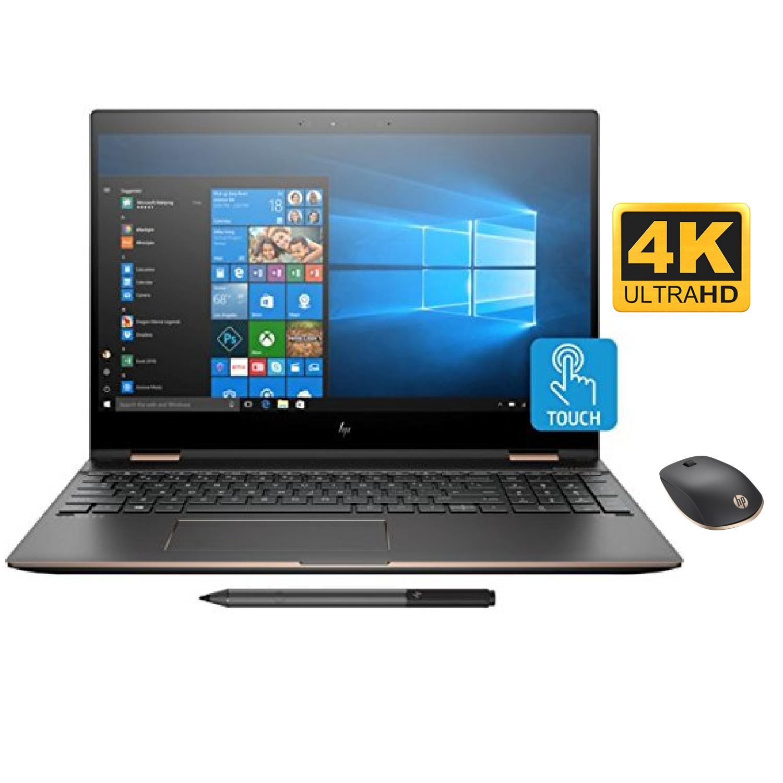"HP Spectre x360 15t 2-in-1 Convertible Laptop (8th Gen i7-8705G, 32GB RAM, 2TB PCIe SSD, 15.6"" UHD micro-edge Touch Corning Gorilla, Radeon RX Vega, Win10 Pro) Dark Ash with HP Z5000 Bluetooth Mouse"