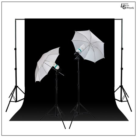 2x 45W Lighting Kit with Backdrop Support System, Black & White Muslin, 2x White Umbrellas, and 2x Light Stands by Loadstone Studio WMLS0710