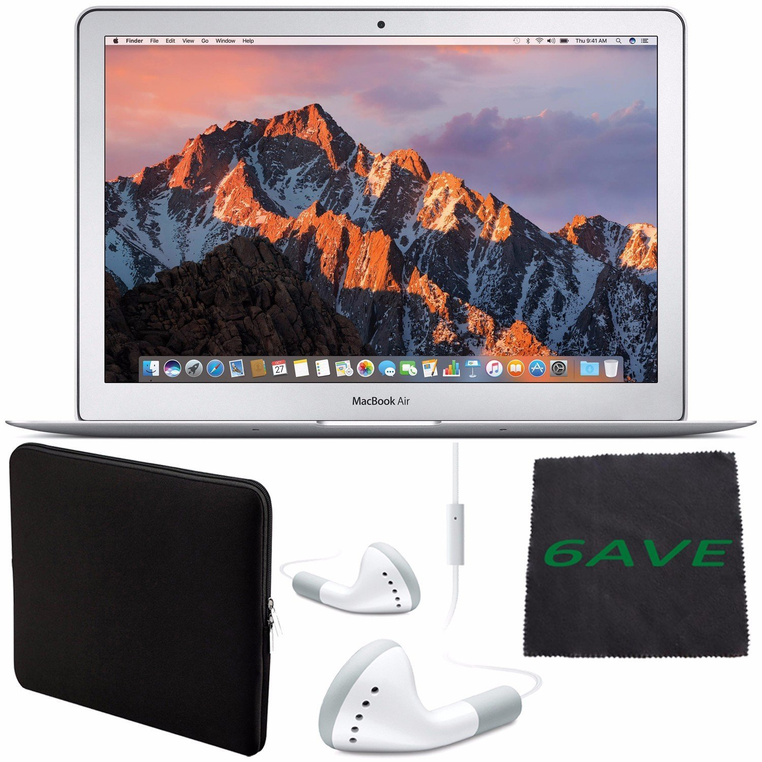 """6Ave Apple 13.3"""" MacBook Air 128GB SSD #MQD32LL/A + White Wired Earbuds Headphones + Padded Case For Macbook + Fibercloth Bundle"""