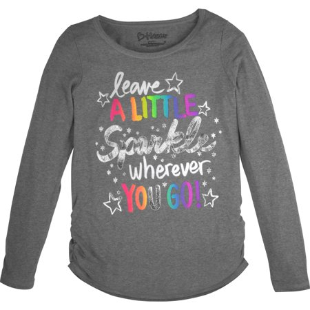 Hanes Girls' Shirred Graphic Long Sleeve Tee Hanes Girls' Shirred Printed Long-Sleeve T shirt60% rayon/40% polyester. Super soft fabric blend feels great against her skin and drapes like a dream. Shirred sides for added style. High/Low shirttail hem gives her more coverage in the back. Tag-free for itch-free comfort. Machine wash cold with like colors. Remove promptly. Use only non-chlorine bleach when needed. Tumble dry low. Cool iron if needed.