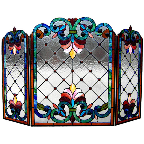 "Chloe Lighting Stained Glass 3Pcs Folding Victorian Fireplace Screen 44"" Wide by Chloe Lighting, Inc."