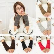 Fashion Unisex Women Ladies Fingerless Gloves Warm Gloves Knitted Winter Warm