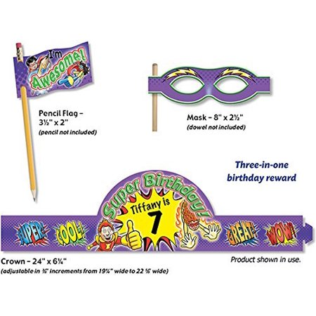 Superhero Birthday Crowns Purple  Crown Measures 24  X 6    61 X 15 9 Cm   32 Sheets Per Package By North Star Teacher Resources