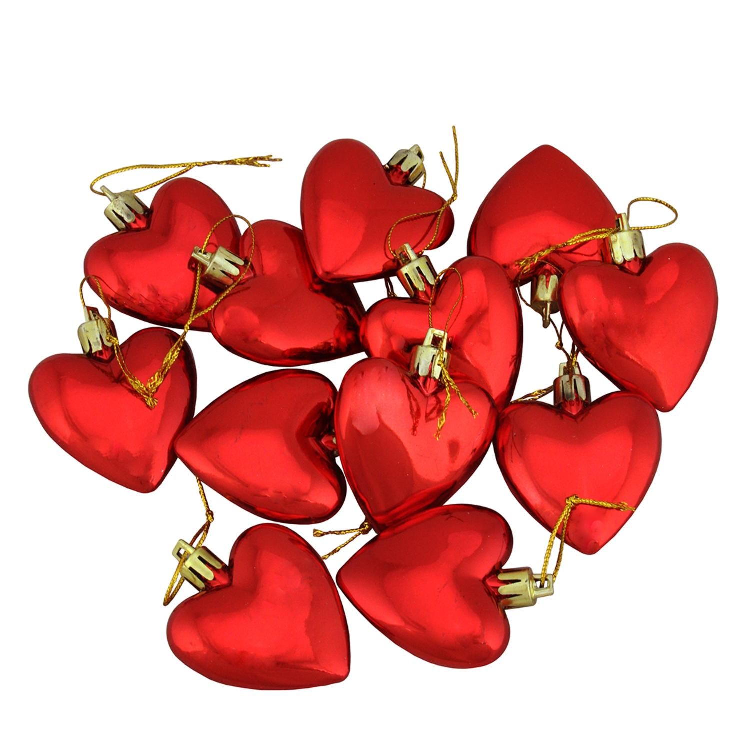 12ct Valentines Day Red Shatterproof Heart Christmas Ornaments 2""
