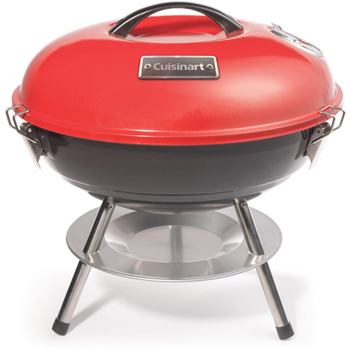 """Cuisinart 14"""" Portable Charcoal Grill, Red/Black"""