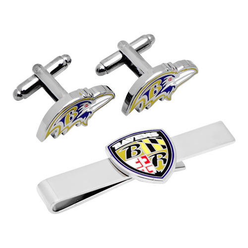 Men's Cufflinks Inc Baltimore Ravens Head Cufflinks/Shield Tie Bar Set
