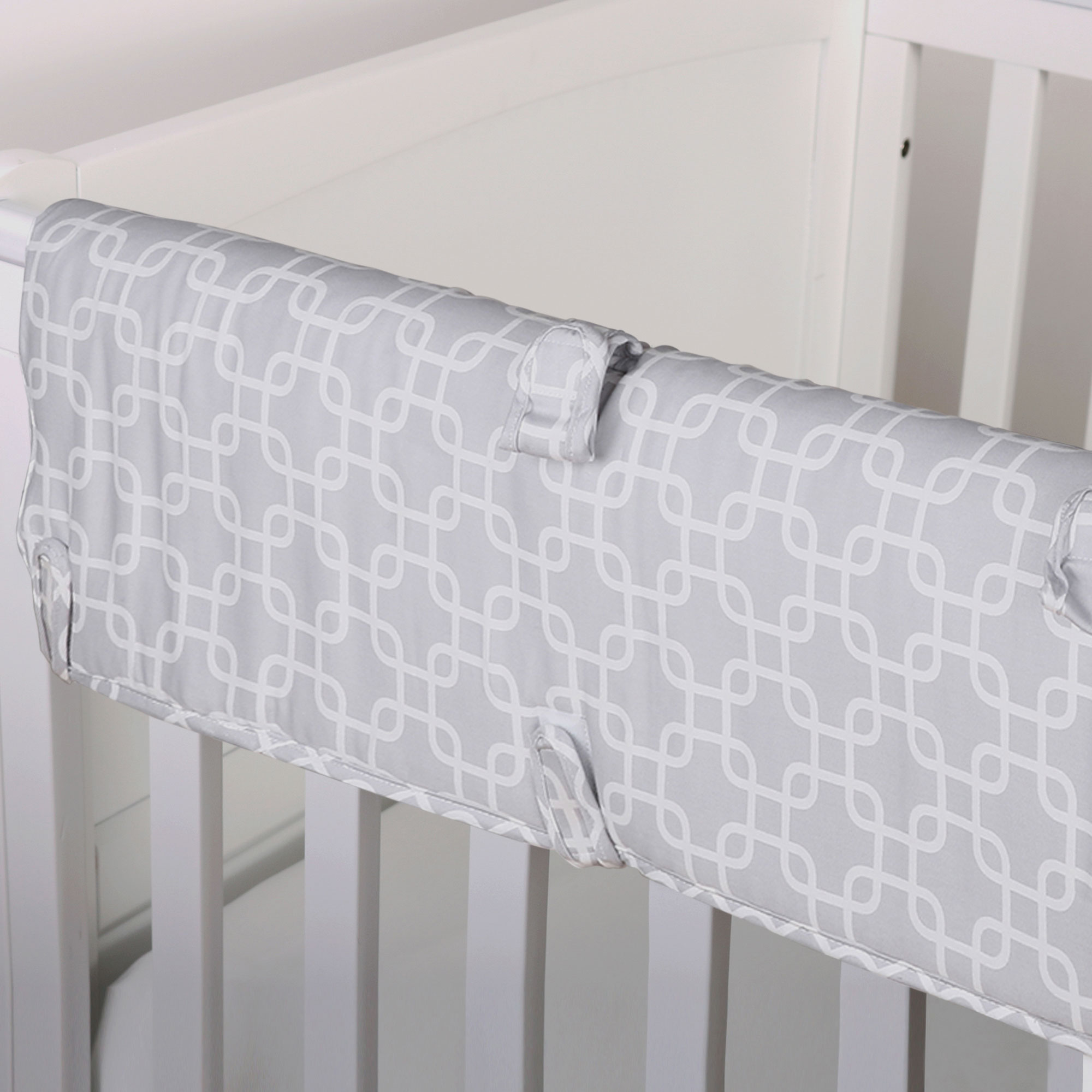 The Peanut Shell Baby Crib Rail Guard - Grey Geometric Print - 100% Cotton Sateen Cover, Polyester Fill